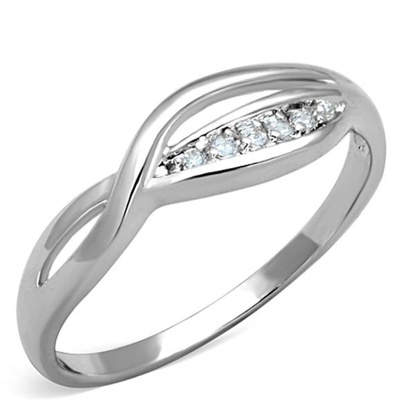 Rhodium Brass Ring with AAA Grade CZ