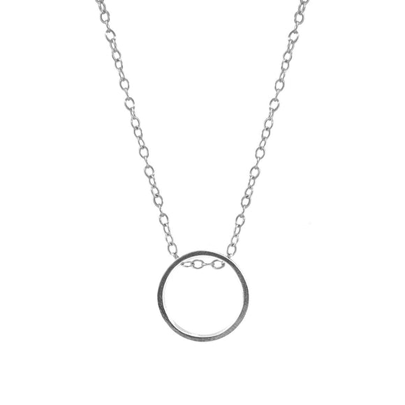 Abbott Round Mini Geometric Silver Necklace