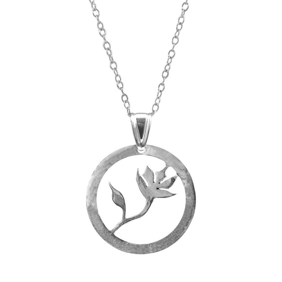 Exotic Flower Disc Paradise Silver Necklace