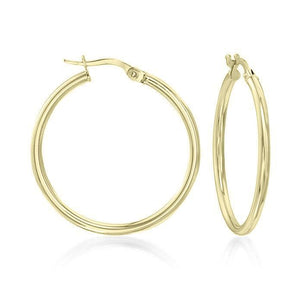 "Classic Round Hoop Earrings (1.5"") 18K Gold Plated"