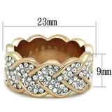 Rose Gold Stainless Steel Synthetic Crystal Ring