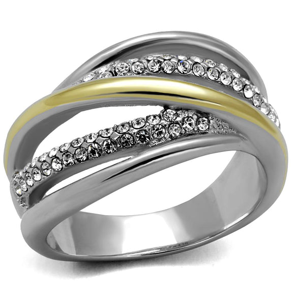 Gold and Silver Stainless Steel Synthetic Crystal Ring