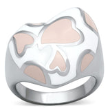 Pink Hearts Stainless Steel Ring
