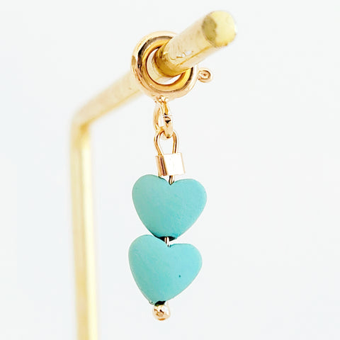 NEW ! Charm Double Blue Hearts