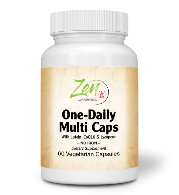 Zen Supplements - One Daily Multi-Vitamin Caps (Iron Free) 60-Vegcaps - Hi-Potency multivitamin with Lutein, Lycopene and CoQ10 That Support Macular and Visual Function