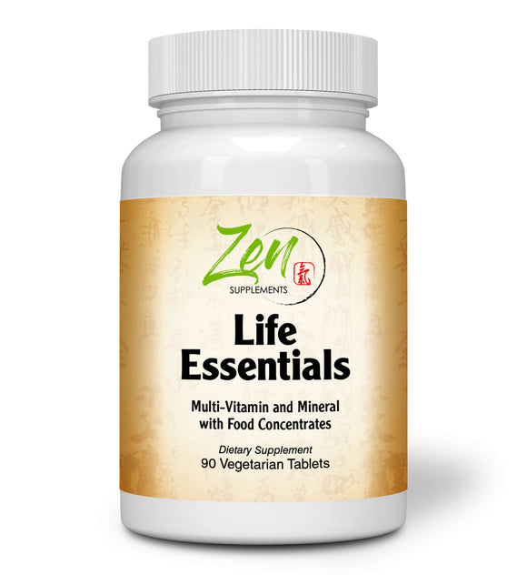 Zen Supplements - Life Essentials Multi-Vitamin from Whole Foods - Real Raw Veggies, Fruits, Superfoods, Probiotics, Digestive Enzymes, Herbs 90-Tabs