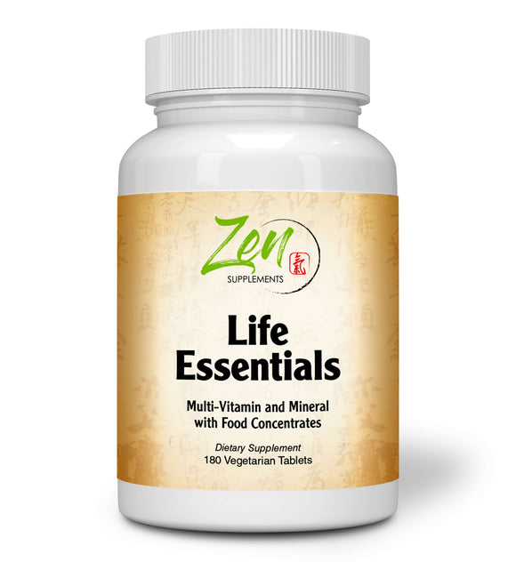 Zen Supplements - Life Essentials Multi-Vitamin from Whole Foods - Real Raw Veggies, Fruits, Superfoods, Probiotics, Digestive Enzymes, Herbs 180-Tabs
