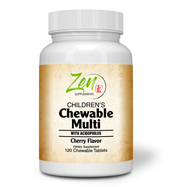 Zen Supplements - Children's Chewable Multi-Vitamin with Acidophilus Cherry Flavored 120-Tabs - The Children's Multivitamin You Won't Have to Beg The Kids to take