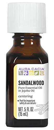 Aura Cacia Sandalwood Essential Oil in Jojoba Oil | GC/MS Tested for Purity | 15ml (0.5 fl. oz.)