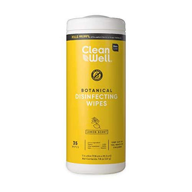 CleanWell Botanical Disinfecting Wipes, Lemon, 35 count (1 PK) - Bleach Free, Antibacterial, Kid/Pet Friendly, Plant-Based, Nontoxic, Cruelty Free, Deodorizes, [wellica]