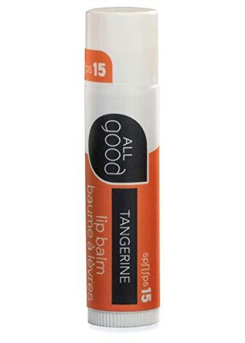 All Good SPF 15 Lip Balm for Soft Smooth Lips - Calendula, Lavender, Olive Oil, Beeswax, Vitamin E | Zinc Oxide for Safe Sun Protection (Tangerine)