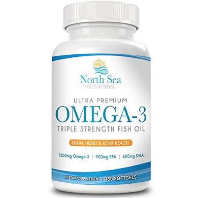 North Sea Supplements Triple Strength Omega-3 180 Softgel - Contains Omega-3 with EPA & DHA in a Burpless, Non-GMO, 2 Capsule Serving - Supports Heart, Brain, and Immune Health, [wellica]