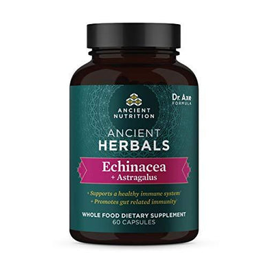 Echinacea + Astragalus, Ancient Herbals Echinacea Capsules, 880mg Immune Support Blend, Formulated by Dr. Josh Axe, Whole Food Dietary Supplement, Made Without GMOs, 60 Capsules