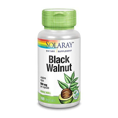 Solaray Black Walnut 500 mg | Whole Hull | Healthy Digestive & Intestinal Wellness Support | Non-GMO, Vegan & Lab Verified | 100 VegCaps