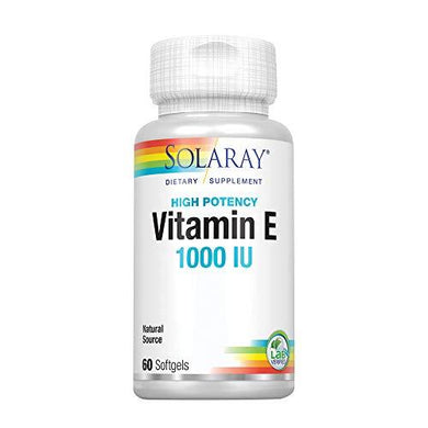 Solaray Vitamin E, d-Alpha Tocopherol 1000IU | for Healthy Cardiac Function, Antioxidant Activity & Skin Health Support | Lab Verified | 60 Softgels