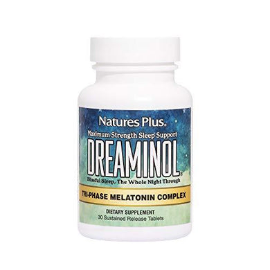 NaturesPlus Dreaminol Tri-Phase Melatonin Complex - 1.5 mg Melatonin, 30 Sustained Release Tablets - Maximum Strength Sleep Support with Lactium, L-Theanine and 5-HTP - 30 Servings