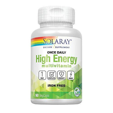 Solaray Once Daily High Energy Multivitamin, w/No Iron | Complete Multi w/Whole Food & Herb Base | Non-GMO | 90 VegCaps