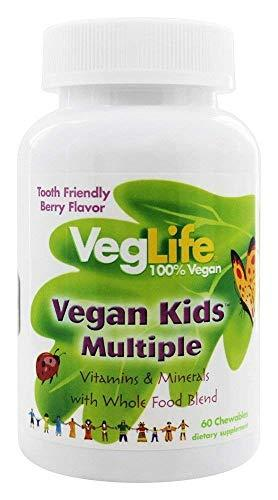 VegLife Vegan Kids Multiple | Natural Berry Flavor Chewable Multivitamin and Mineral | Whole Food Blend w/Spirulina | No Added Sugar | 60 Chewables | 2 pk