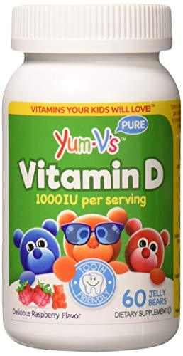 YUM-V's Vitamin D (1000 IU) Chewable Jellies (Gummies) for Kids, Yummy Berry Flavor (60 Ct); Daily Dietary Supplement with Essential Vitamins – Kosher, Halal, Gluten Free Children's Vitamins