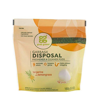 Grab Green Garbage Disposal Freshener Cleaner Pods - Tangerine with Lemongrass, white, [wellica]