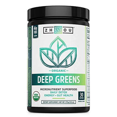 Deep Greens - Organic Green Superfood Powder - Morning Complete Prebiotic Probiotic Powder - Green Blend of Wheatgrass, Spirulina, and Maca Powder 30 Servings