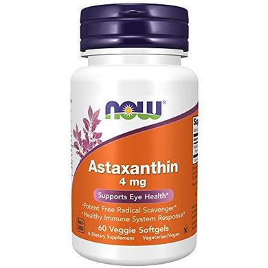 NOW Supplements, Astaxanthin 4 mg, features Zanthin, 60 Veg Capsules, [wellica]