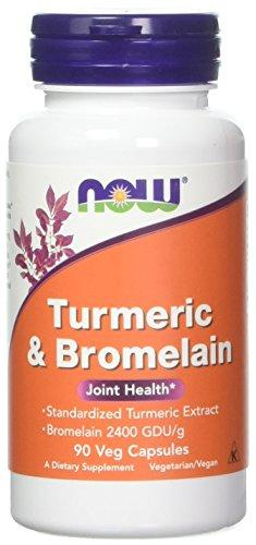 Now Foods Turmeric and Bromelain Veg Capsules,90 Count-2 Pack, [wellica]