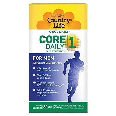 Country Life Core Daily-1, 6-in-1 Vegetarian Mens Multivitamins with Coenzymated B Vitamins for Energy, Immune Support, Over 30 Raw Whole Foods, 60 Tablets