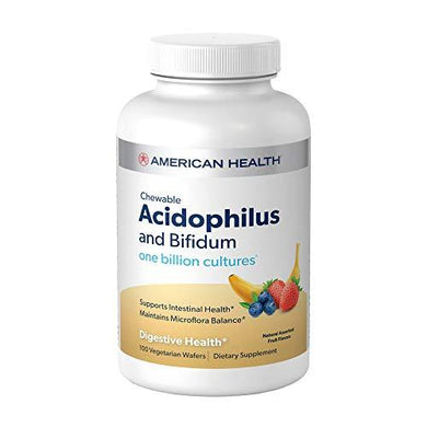 American Health Chewable Probiotic Acidophilus and Bifidum, Fruit Flavor Wafers - Supports Digestive Health, Intestinal Balance & Immune Function - Gluten-Free - 100 Total Servings