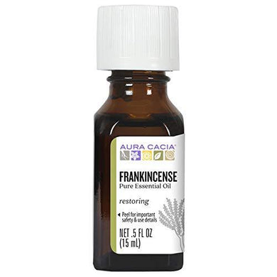 Aura Cacia 100% Pure Frankincense Essential Oil | GC/MS Tested for Purity | 15 ml (0.5 fl. oz.) | Boswellia sacra