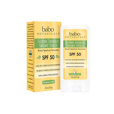 Babo Botanicals Super Shield Zinc Sport Stick Sunscreen SPF 50 with Soothing Organic Ingredients, Non-Nano, Fragrance Free, for Baby, Kids or Sensitive Skin - 0.6 oz.