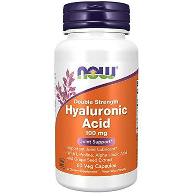 NOW Supplements, Hyaluronic Acid 100 mg, Double Strength with L-Proline, Alpha Lipoic Acid and Grape Seed Extract, 60 Veg Capsules, [wellica]