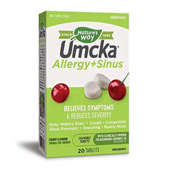 Nature's Way Umcka Allergy and Sinus Homeopathic Chewable Tablets- Cherry Flavor- 20 Count, [wellica]
