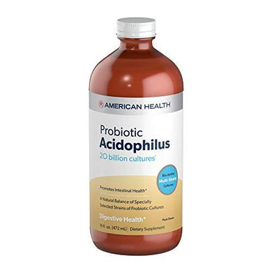 American Health Probiotic Acidophilus, Plain Flavor - Promotes Intestinal Health, Encourages Nutrient Absorption & Immune Health - Gluten-Free, Vegetarian - 16 Fl Oz, 15 Total Servings