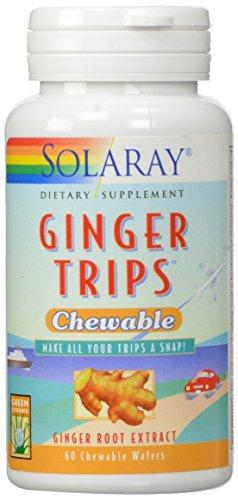 Solaray Ginger Trips Chewable Wafers, 67mg, 60 Count, [wellica]