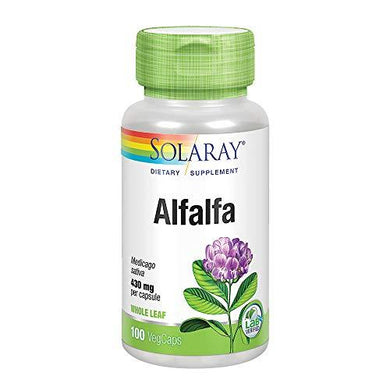 Solaray Alfalfa Leaf 430mg | Vitamin-Rich Superfood w/Fiber & Chlorophyll | Healthy Blood, Kidneys & Digestion Support | Non-GMO, Vegan | 100 VegCaps