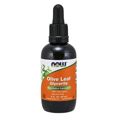 NOW Supplements, Olive Leaf Glycerite Liquid, 18% Oleuropein, Dropper Included, Free Radical Scavenger*, 2-Ounce