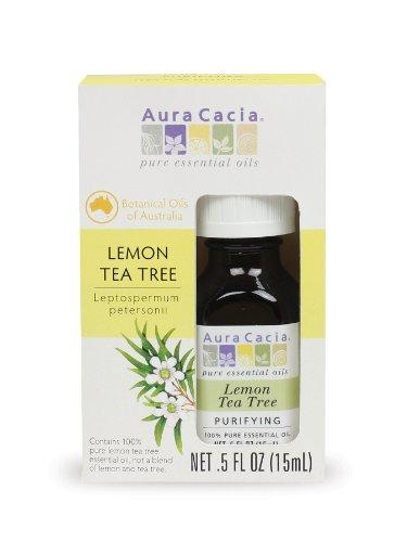 Aura Cacia Pure Lemon Tea Tree Essential Oil | 0.5 fl. oz. in Box | Leptospermum petersonii