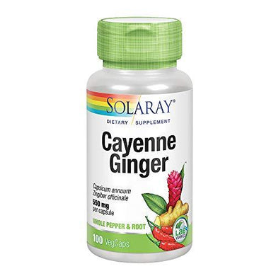 Solaray Cayenne & Ginger with Marshmallow 550 mg | Healthy Digestion, Circulation, Metabolism & GI Wellness Support | Non-GMO | 100 VegCaps
