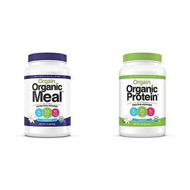 Orgain Organic Plant Based Meal Replacement Powder, Vanilla Bean & Organic Plant Based Protein Powder, Vanilla Bean - Vegan, Low Net Carbs, Non Dairy, Gluten Free, Lactose Free