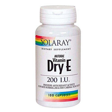 Solaray Dry Vitamin E-200 Capsules | 100 Count