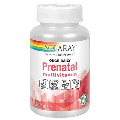 Solaray Once Daily Prenatal Multivitamin with Iron & DHA | Morning Ease Herbal Blend & Whole Food Base | 90 CT