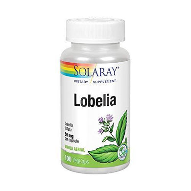 Solaray Lobelia Aerial 50mg | Healthy Respiratory and Bronchial Function Support | Ginger Root for Added Lung Support | Non-GMO & Vegan | 100 VegCaps