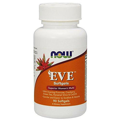 NOW Supplements, Eve™ Women's Multivitamin with Evening Primrose, Cranberry, Green Tea, Horsetail Silica & CoQ10, 90 Softgels, [wellica]