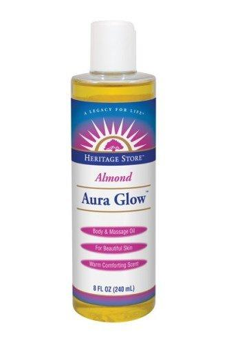 Heritage Store Aura Glow Massage Oil, Almond, 16 Ounce, [wellica]