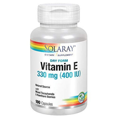 Solaray Dry Vitamin E with Hawthorn Berries 330mg (400IU) | Heart & Skin Health, Antioxidant Support, 100ct