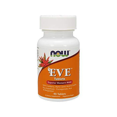NOW Supplements, Eve Women's Multivitamin with Cranberry, Alpha Lipoic Acid and CoQ10, plus Superfruits - Pomegranate, Acai & Mangosteen, 90 Tablets, [wellica]