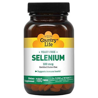 Country Life Selenium 100 mcg, Yeast Free, 180-Count, Antioxidant, Immune Support, Trace Mineral, Gluten-Free
