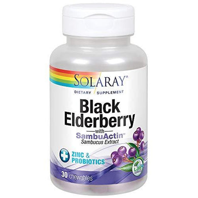 Solaray Black Elderberry Extract with Zinc, Probiotics & Vitamin C | Healthy Immune System Support | 30 Chewable Tablets