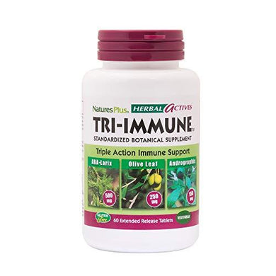 NaturesPlus Herbal Actives Tri Immune - Olive Leaf, Arabinogalactans, Andrographis & Vitamin C Supplement - 60 Vegan Tablets, Extended Release (30 Servings)